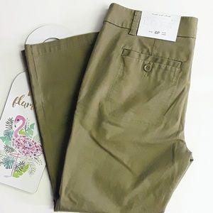 LOFT Olive Green Kick Crop Khaki Chino Pants 6P
